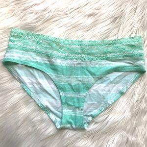 Victorias Secret Green/White Lace Trim Used Pantie